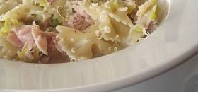 Pasta with ham, leeks & m/rooms